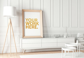 Wood Framed Poster with Contemporary Furniture Mockup