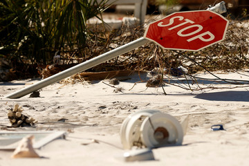 A traffic sign damaged by Hurricane Michael is pictured in Mexico Beach