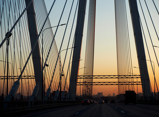 Obukhov bridge view at sunset