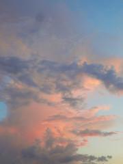 Sunset sky over the desert in the Western Kazakhstan in May