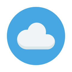 Cloud flat icon isolated on blue background. 