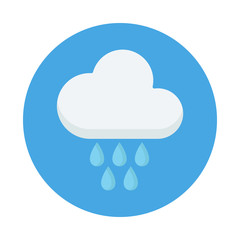 Cloud with Rain drop flat icon isolated on blue background. Cloud rain sign symbol in flat style. Weather forecast element Vector illustration for web and mobile design.