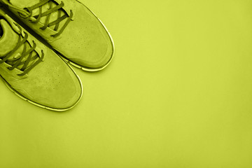 Green boots on green background. Copyspace, flat lay.