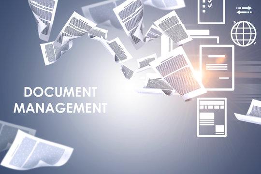 Document management concept, gray background