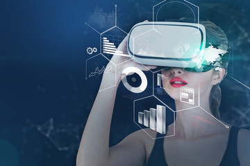 Woman in vr glasses infographics interface mock up