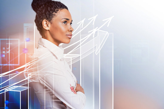 Confident black woman, business growth interface