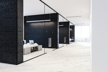 Black and white office lobby interior