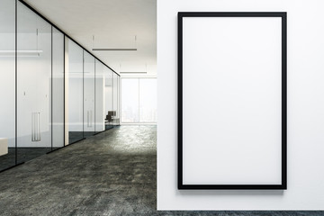 White office lobby with poster