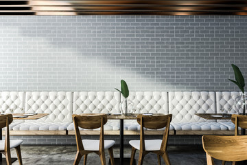 Gray brick cafe interior