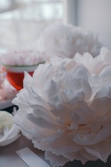Crop big delicate paper peony and petals on the table