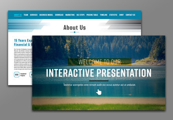 Interactive PDF Presentation Layout with Blue Header