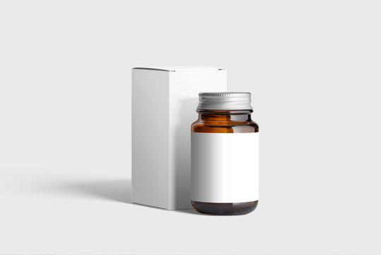 Supplement Amber  Bottle & Box Mockup on light grey background. Mockup template ready for your design.