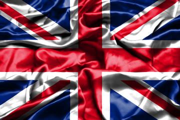 United Kingdom flag waving in the wind.