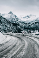 Frozen Road to Geiranger During Moody Winter Day (Norway)