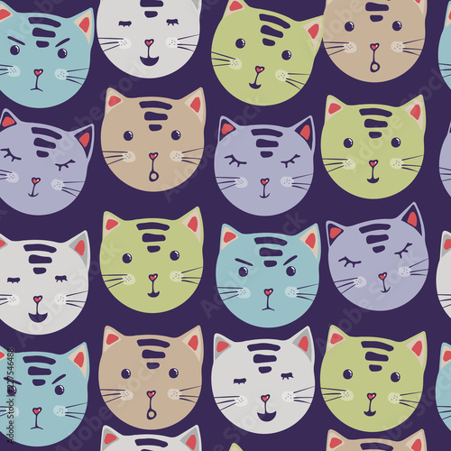Cute Cats Vector Seamless Pattern With Cartoon Cat Faces Fabric