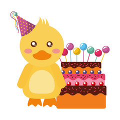cute duck with party hat cake kawaii birthday