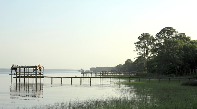 Florida, Apalachicola Bay. Morning view on Gulf of Mexico