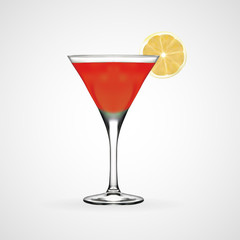 Red cocktail glass, vector, illustration, eps file
