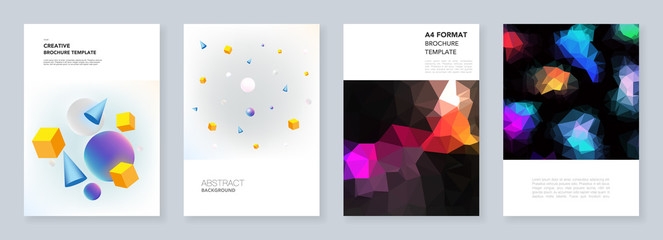 Minimal brochure templates. Templates for flyer, leaflet, brochure, report, presentation, advertising. Vibrant geometric abstract backgrounds with simple shapes in hipster style.