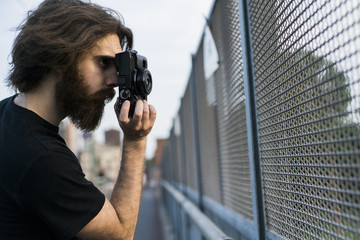 Cool photographer in the city