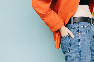 Hand in the back pocket of jeans