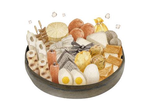 おでん  日本料理 鍋料理 水彩 イラスト