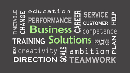 Business Solution concept on black background. Business concept.