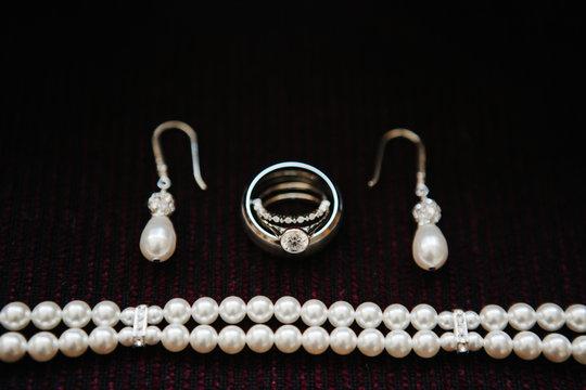 Jewelry - Earrings, rings, pearl bracelet