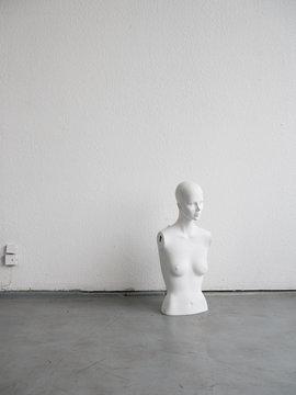 Female mannequin torso on floor