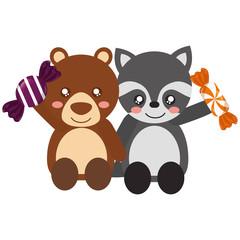 cute bear and raccoon sweet candies