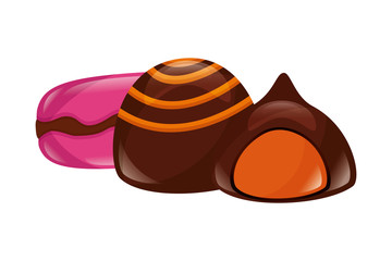 sweet candies chocolate chip macaron