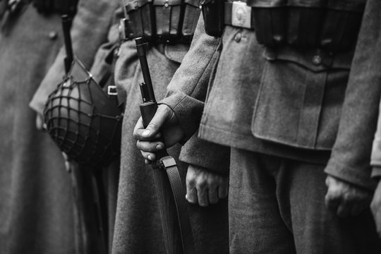 Close Up Of German Military Ammunition Of A German Soldier. Worl