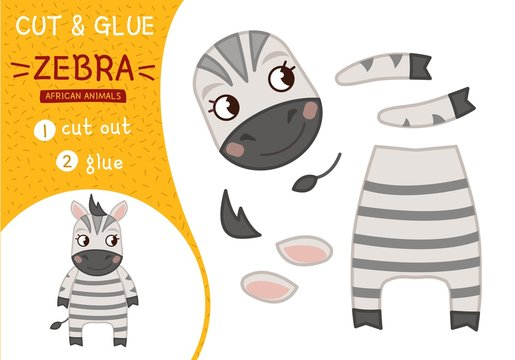 Education paper game for preshool children. Vector illustration. Collection of African animals. Illustration of a cute cartoon zebra
