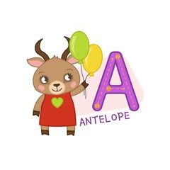 Vector cute kids animal alphabet. Letter A. Cute cartoon antelope.