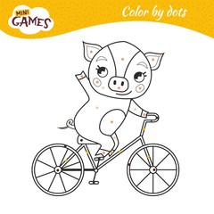 Coloring book for children. Cute pig rides a bicycle.