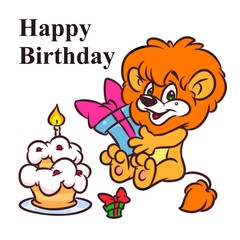 Little Lion Happy Birthday cake cartoon illustration isolated image