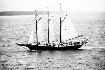 Black and White picture of Old Sailboat on Water