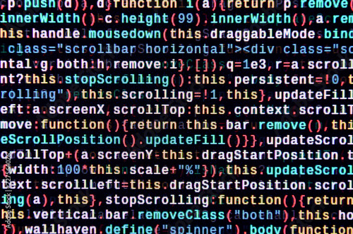JavaScript code in text editor  Coding cyberspace concept