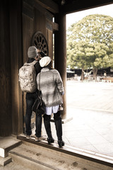 tourist couple at Japanese temple