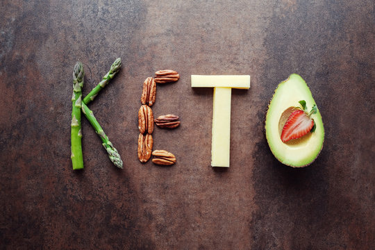 Keto word made from ketogenic food, new year health diet resolution