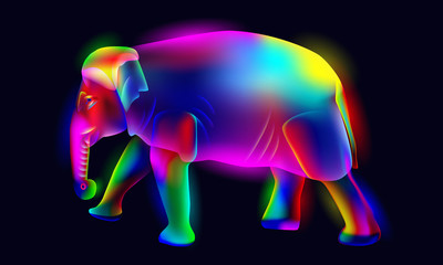 Vibrant, glowing, illuminated, neon colorful elephant vector illustration