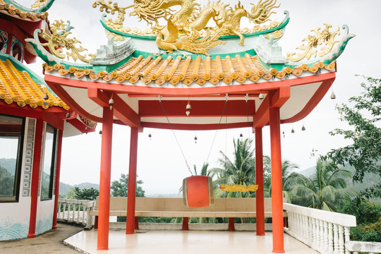 Large Chinese temple complex during the Chinese New Year