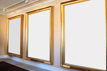 Three Big Perspective Picture Frames in Art Museum Gallery Exhibition. Blank White Isolated Clipping Path.