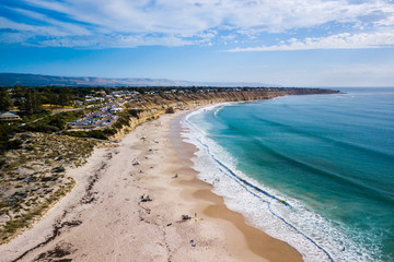aerial view of beach and surf looking south at Port Willunga, SA