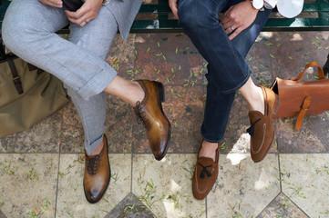 Closeup of fashionable guys shoes