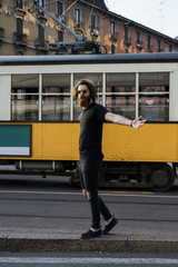 Cool man walking in the city