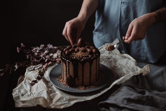 easter dark chocolate egg cake