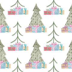 Christmas trees and gifts waterclor seamless pattern. Pattern for wrapping paper for Christmas and new year.