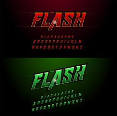 Alphabet red and green metallic and effect designs. Elegant golden letters typography italic font. technology, sport, movie, and sci-fi concept. vector illustrator