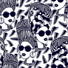 Seamless pattern of a woman in turban, head wrap.